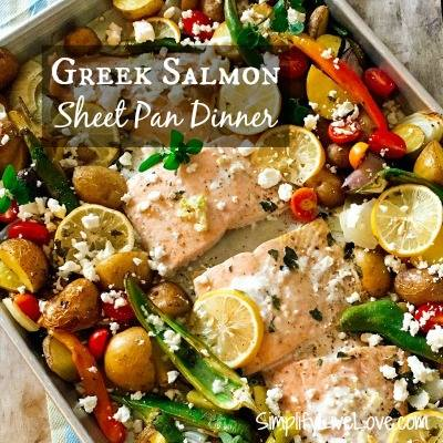 Greek Salmon Sheet Pan Dinner at Simplify Live Love