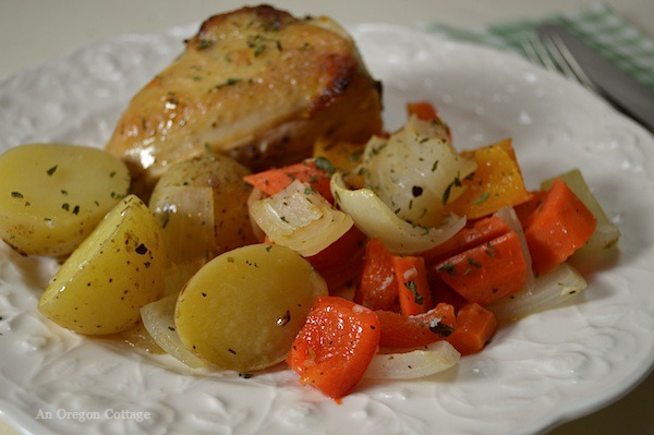 Lemon-Garlic Roasted Vegetables and Chicken - a light and refreshing one pan family dinner.