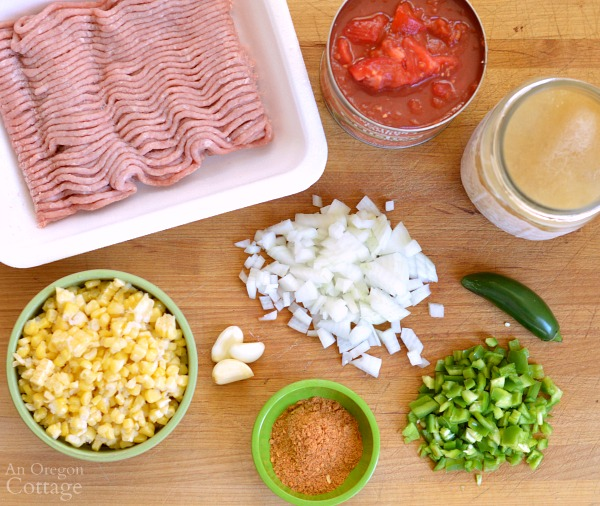 Spicy Beef Tomato and Corn Stew ingredients