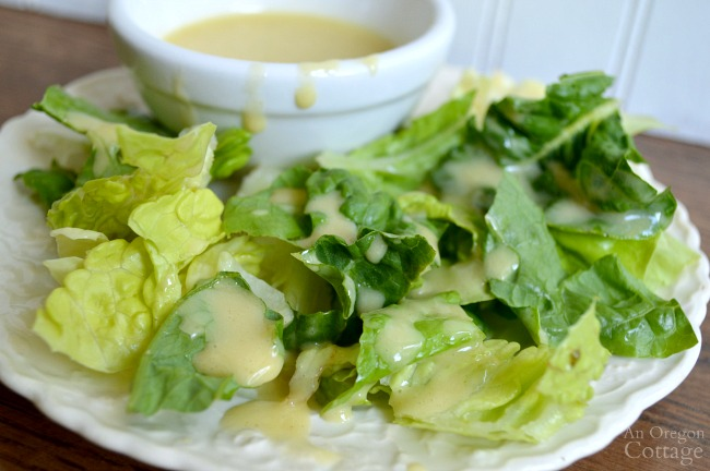 Homemade Honey Mustard Dressing on salad