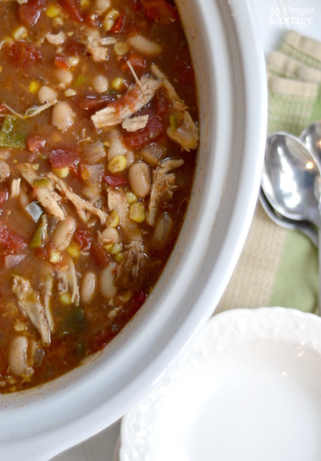 Slow Cooker Chicken Chili-easy one-pot dinner