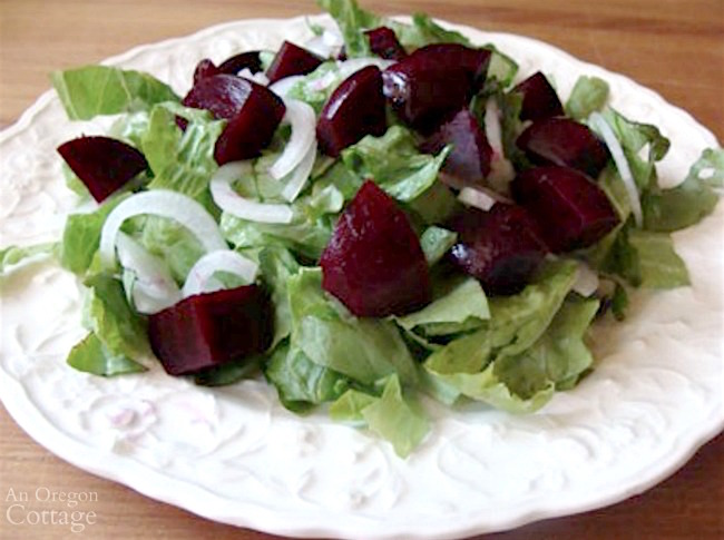 Roasted beet salad with goat cheese-adding beets