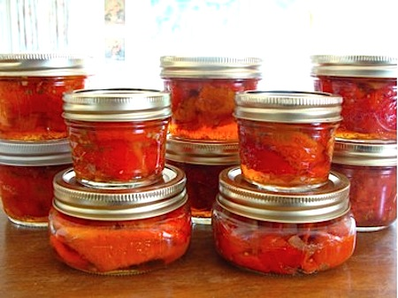 Canned roasted red peppers in wine