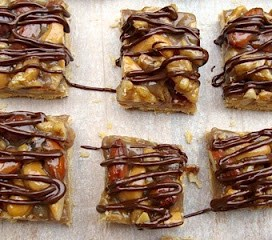 Chocolate Drizzled Nut Squares