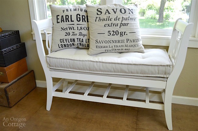French-style bench from old chairs with mattress cushion