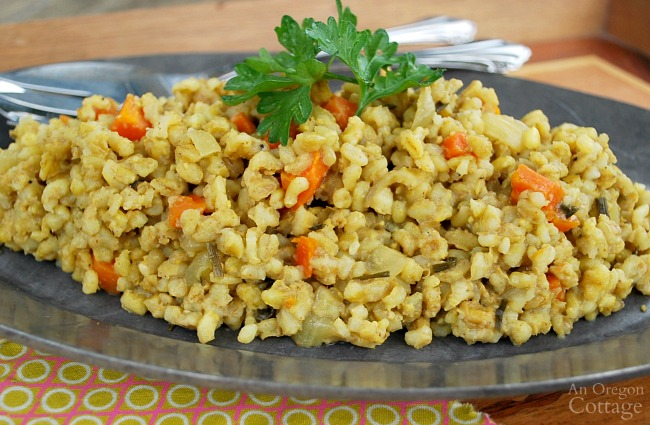 Slow Cooker Curried Barley with Carrots and Onions