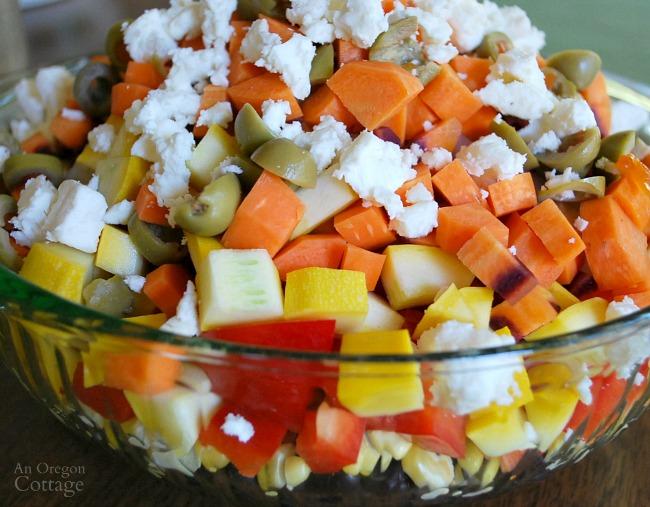 Chopped Salad ingredients in bowl