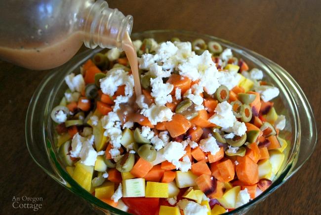 Chopped salad with vinaigrette dressing