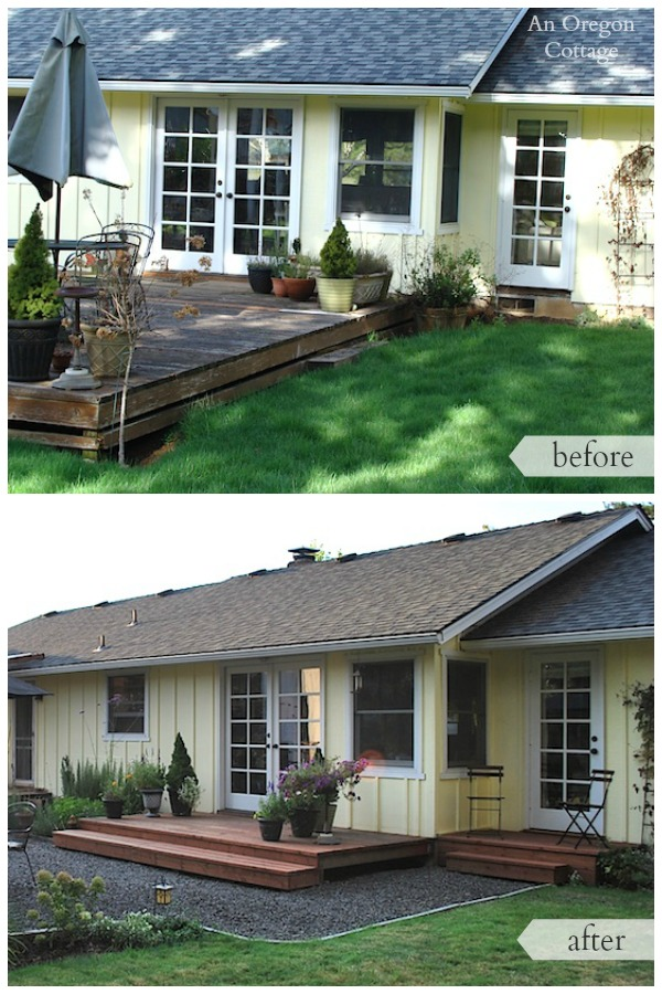 backyard makeover before and after french doors - Backyard Before And After