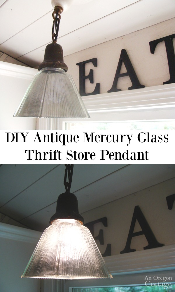 DIY Antique Mercury Glass Pendant- from a thrift store shade!