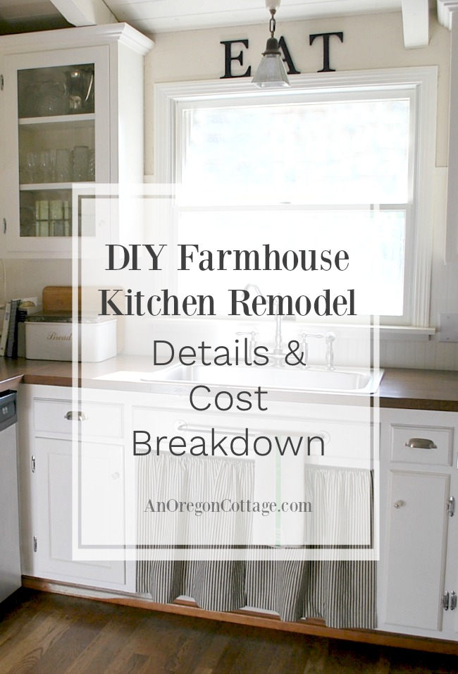 Here are the kitchen remodel details and cost breakdown of our inexpensive DIY makeover that turned a dated 80's space into a modern farmhouse kitchen.