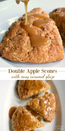 Double Apple Scones with a super easy caramel glaze is one our favorite fall recipes AnOregonCottage.com