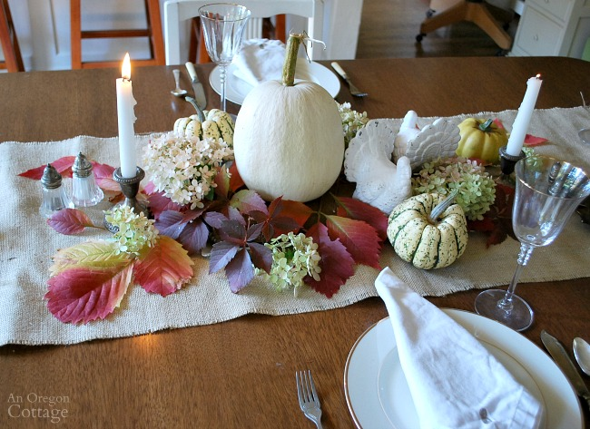Simple white nature inspired Thanksgiving table