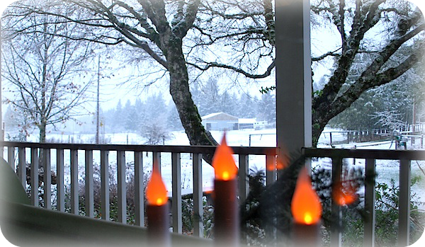 Christmas Candles and Snow
