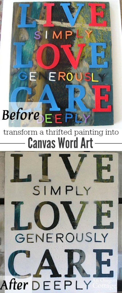 Create meaningful canvas word art from a thrifted painting