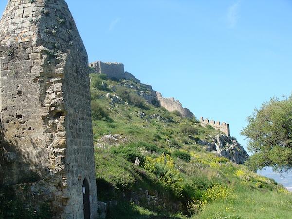 castle ruin above corinth