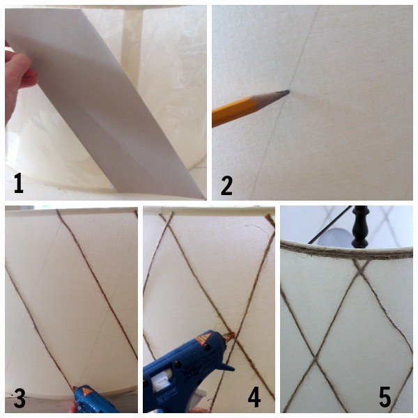 diy twine lamp shade steps