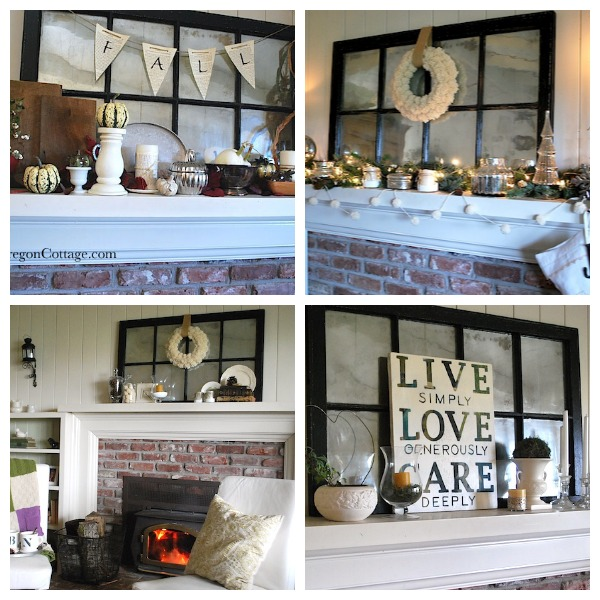 seasonal mantels with window-mirror