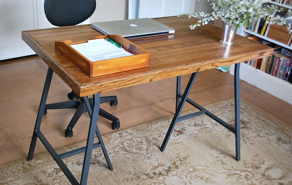 Salvaged Wood Desk Front - How To Make A Desk With Ikea Trestle Legs And Old Wood Flooring