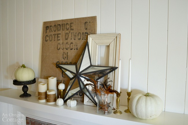 Burlap Gold White Iron Fall Mantel with brass accents