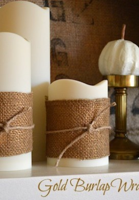 Gold Burlap Wrapped Candles