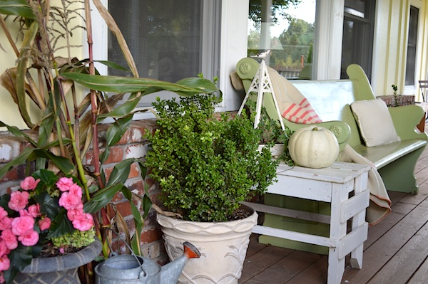 Porch bench throw and flowers - An Oregon Cottage