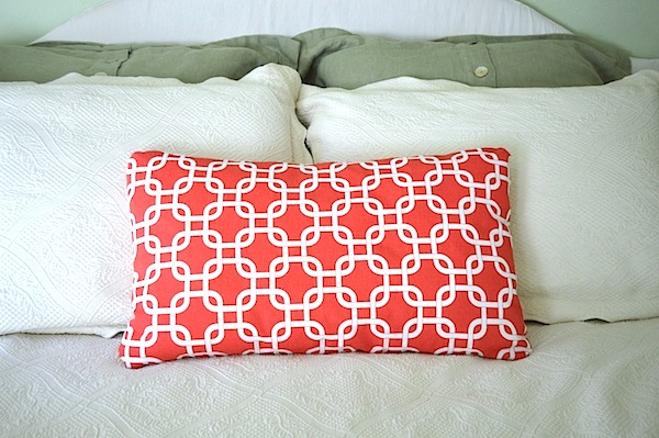 Coral bed pillow on An Oregon Cottage