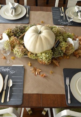 Chalkboard & Gold Thanksgiving Table Decorations
