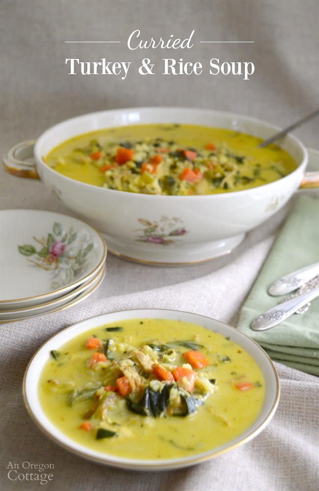 Homemade curry and coconut turkey and rice soup; or make it chicken and rice soup-your choice | AnOregonCottage.com
