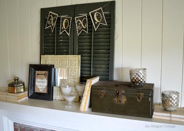 Vintage Valentine Mantel from An Oregon Cottage