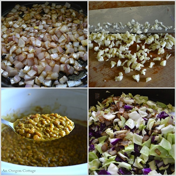 Curried Lentils with Bacon and Browned Cabbage Ingredients - An Oregon Cottage