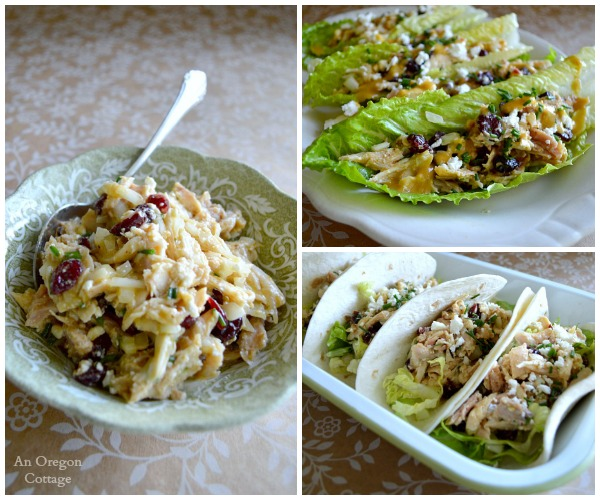 Cranberry Feta Chicken Salad lettuce and tortilla wraps - An Oregon Cottage