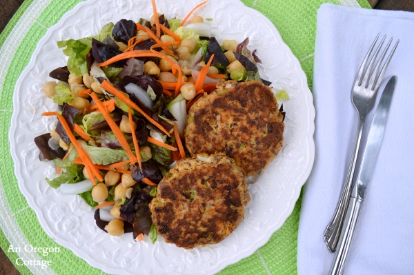 15 minute Salmon Patties with Flax and Garbanzo Bean Salad | An Oregon Cottage