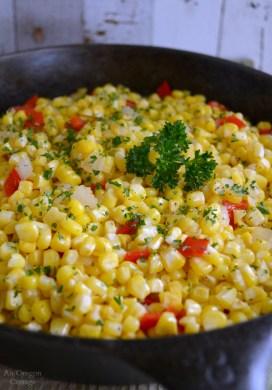Simple Corn, Pepper and Onion Saute