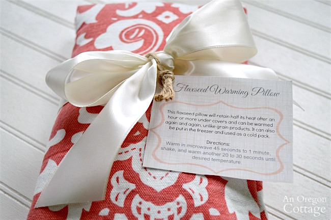 DIY flaxseed heat pads with gift tags.