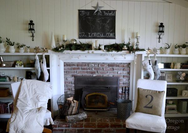 Cottage Christmas Mantel Wall- White Chalkboard, Mercury Glass & Greenery