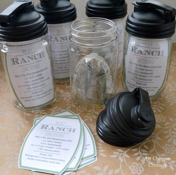Mason Jar Gift - Ranch Salad Dressing Jar with pop up lid, dressing mix and printable recipe tag