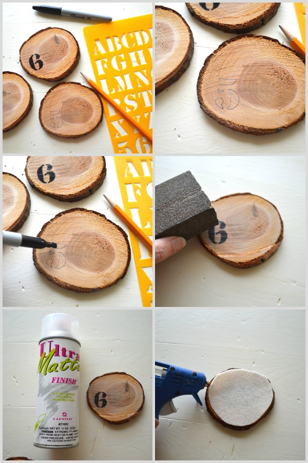 DIY Numbered Wood Slice Coasters Steps