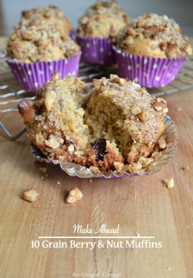 Make Ahead 10 Grain Berry and Nut Freezer Muffins