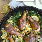 Spiced Lemon Skillet Chicken with Kale and Beans is an easy one pan meal that will become a family favorite