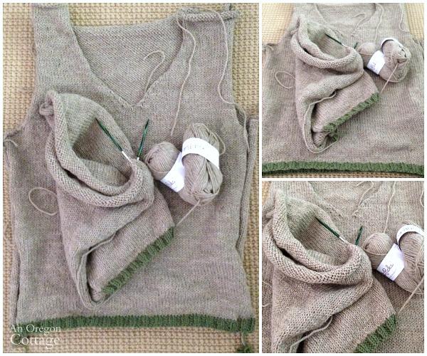 Man's knitted sweater in progress