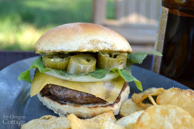 Smashed Garlic Burgers with (or without!) Jalapeño (Brew Pub Style)