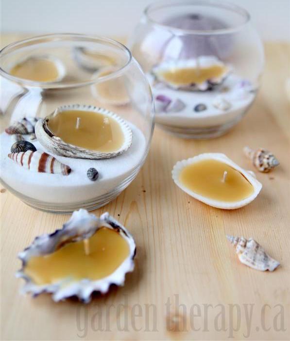 Beeswax Seashell Tealights via Garden Therapy