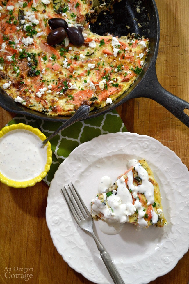 Greek salmon and vegetable frittata- an easy & healthy weeknight meal