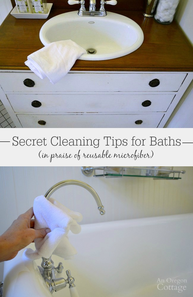 Using these cleaning tips for your bathroom with microfiber cloths is easy, green, and saves money