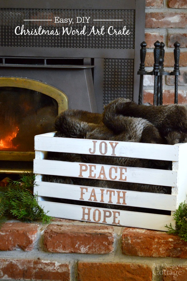 Make a Christmas word art crate for your holiday decor to hold throws, gifts, wood, or more - it's easy using paint and stickers.