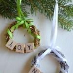 DIY Scrabble Tile Grapevine Wreath Christmas Ornament