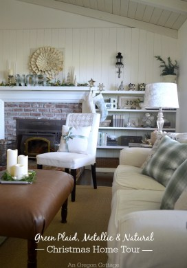 2015 Christmas Home Tour: Green Plaid, Metallic, & Natural