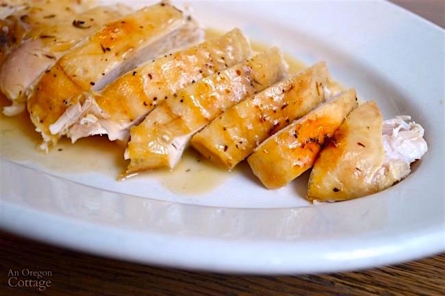 White Wine Roasted Turkey-sliced with gravy