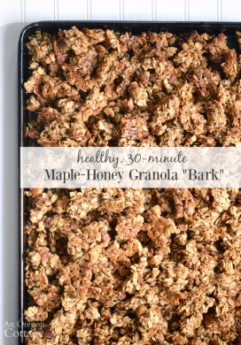 Healthy, Quick Maple-Honey Granola {with Bark-Like Clusters}